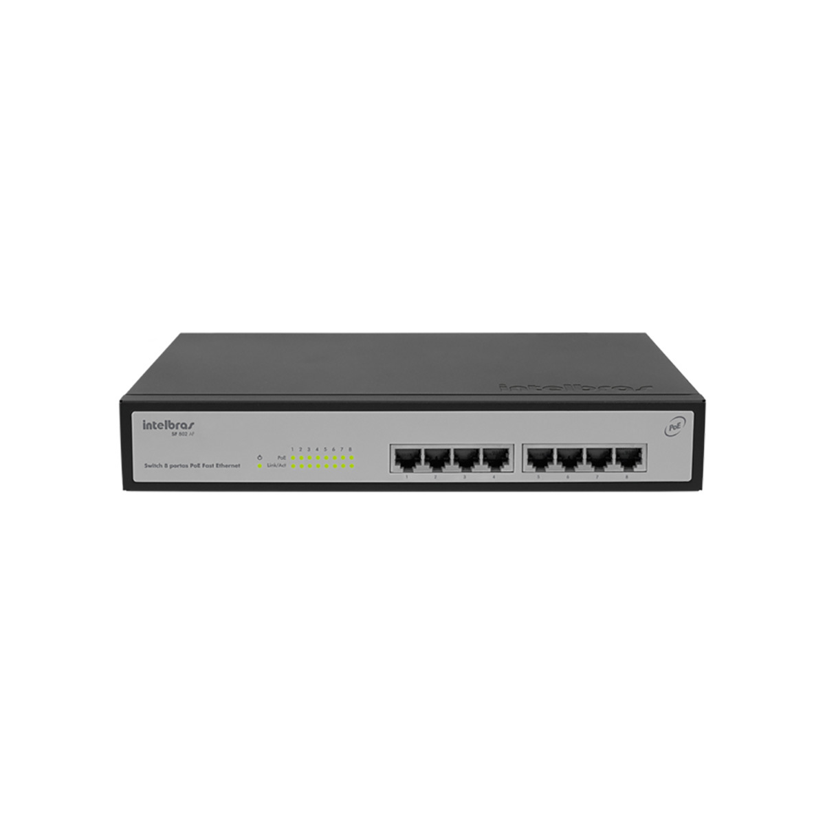 Switch 9 Portas Fast com 8 Portas POE+ Intelbras SF 900 POE