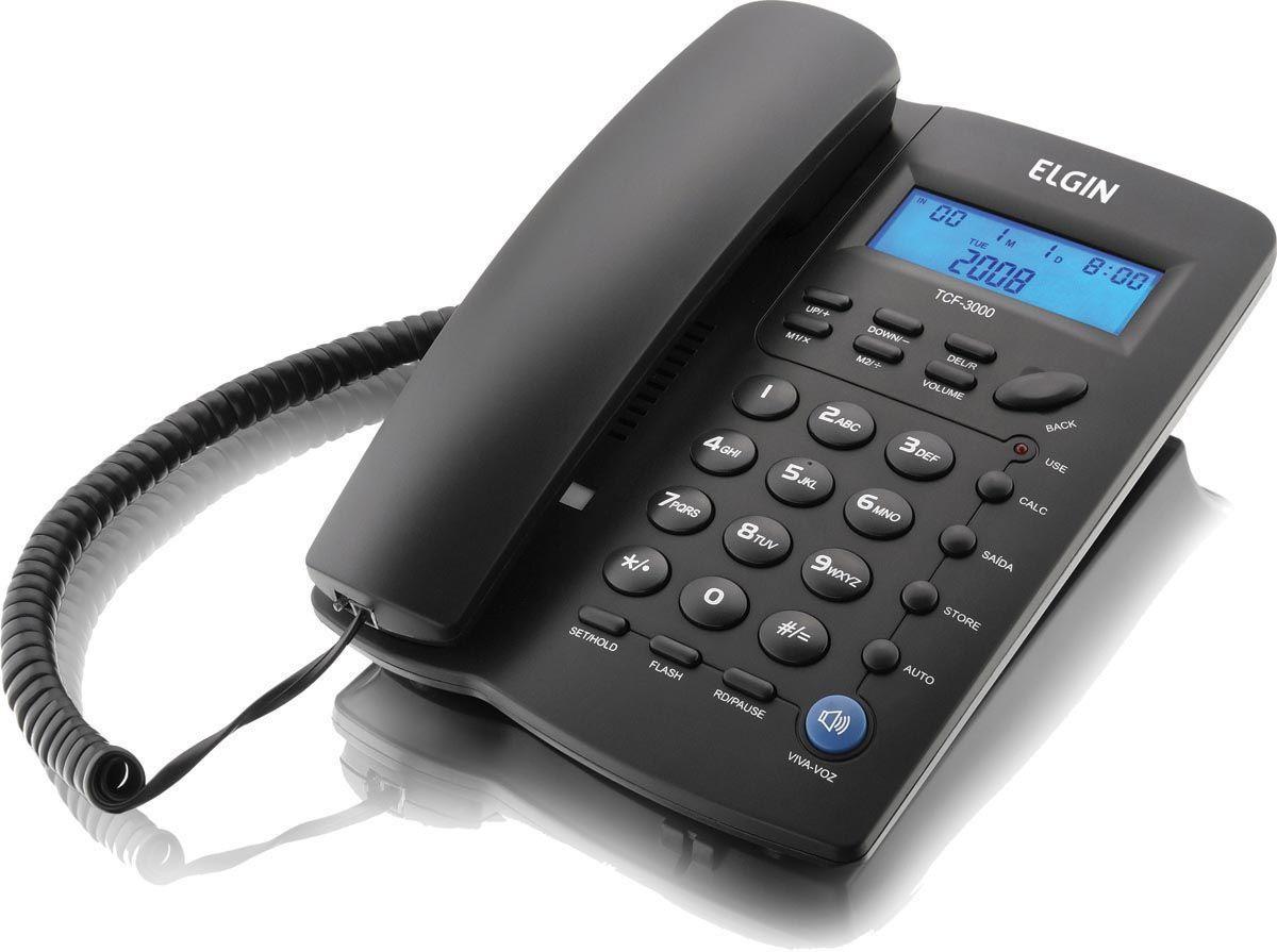 Telefone c/ Identificador de Chamadas e Agenda Elgin