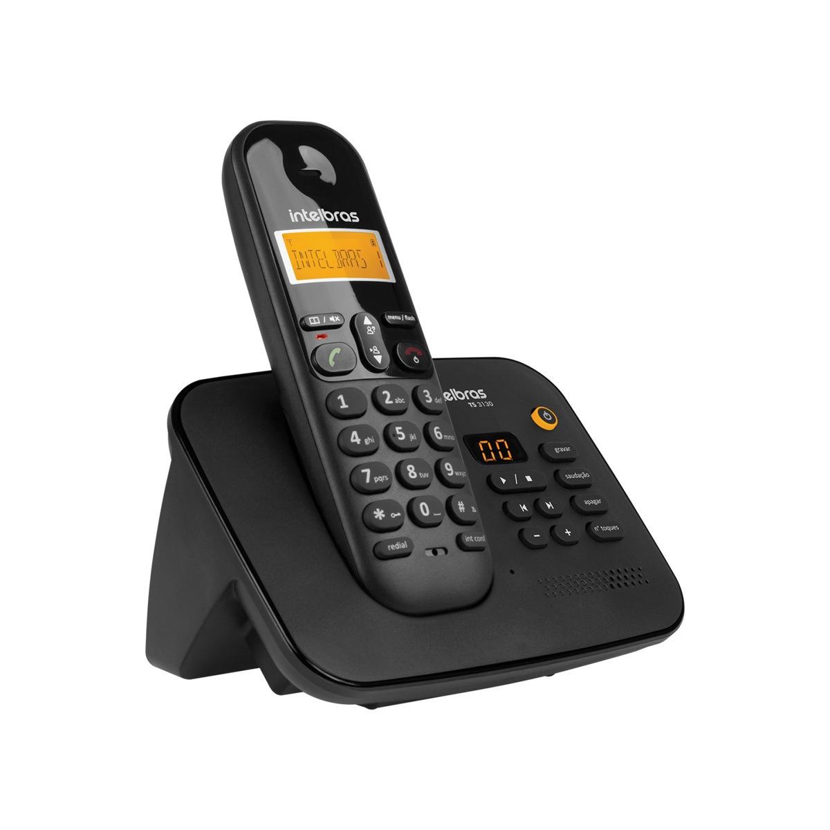 Telefone sem Fio Digital com Secretária Eletrônica Intelbras TS 3130 Preto