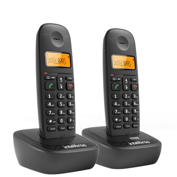 Telefone Sem Fio e Ramal Intelbras TS2512 Preto 2 Unidades