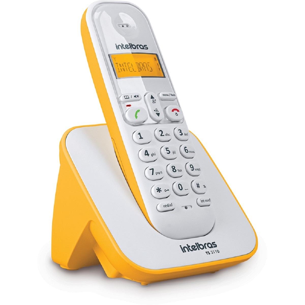 Telefone Sem fio Intelbras  3110 - Branco e Amarelo