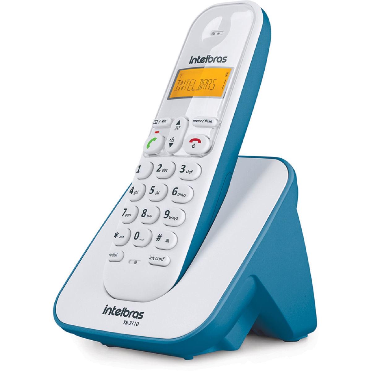 Telefone sem fio Intelbras TS 3110 Branco e Azul