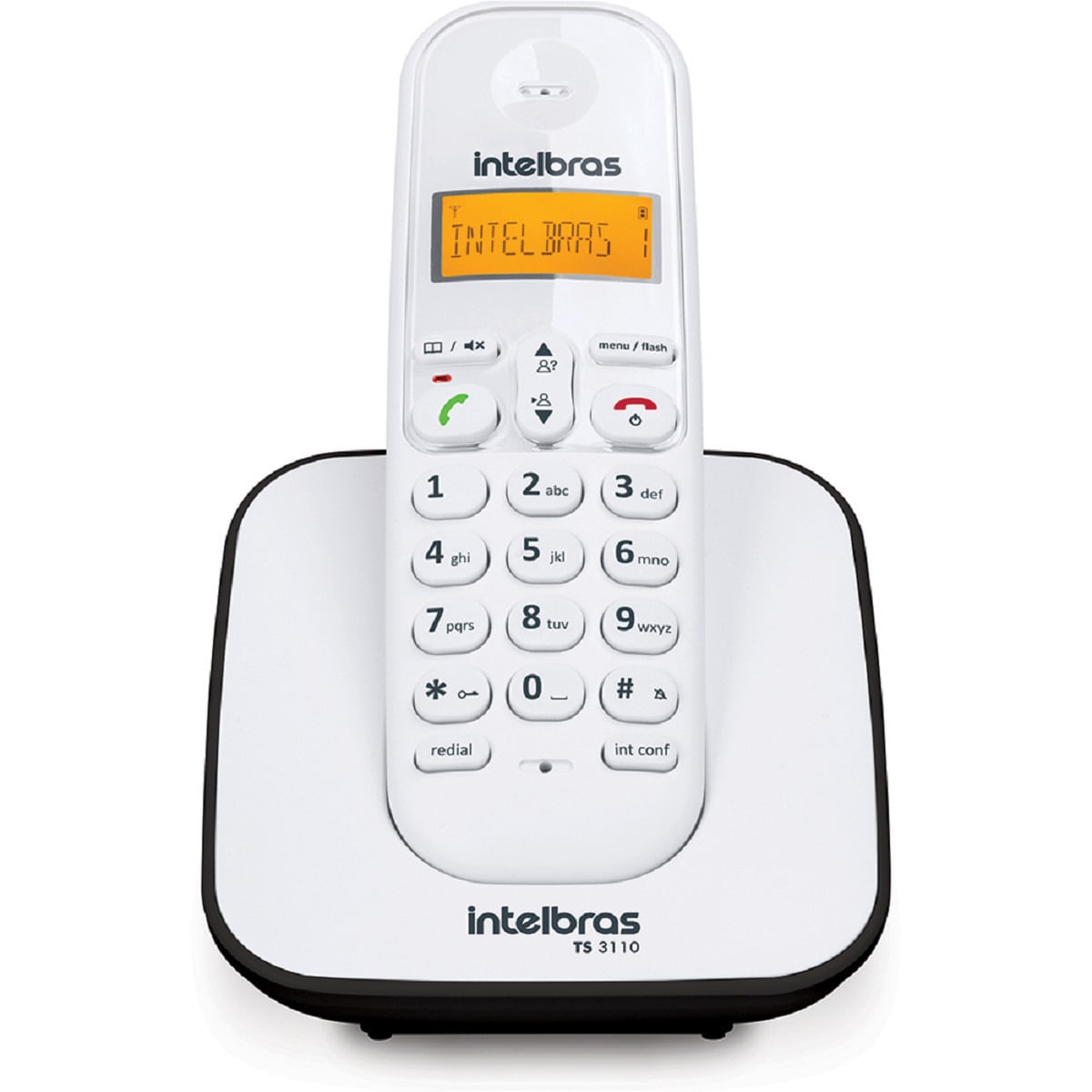 Telefone sem fio Intelbras TS 3110 Branco e Preto
