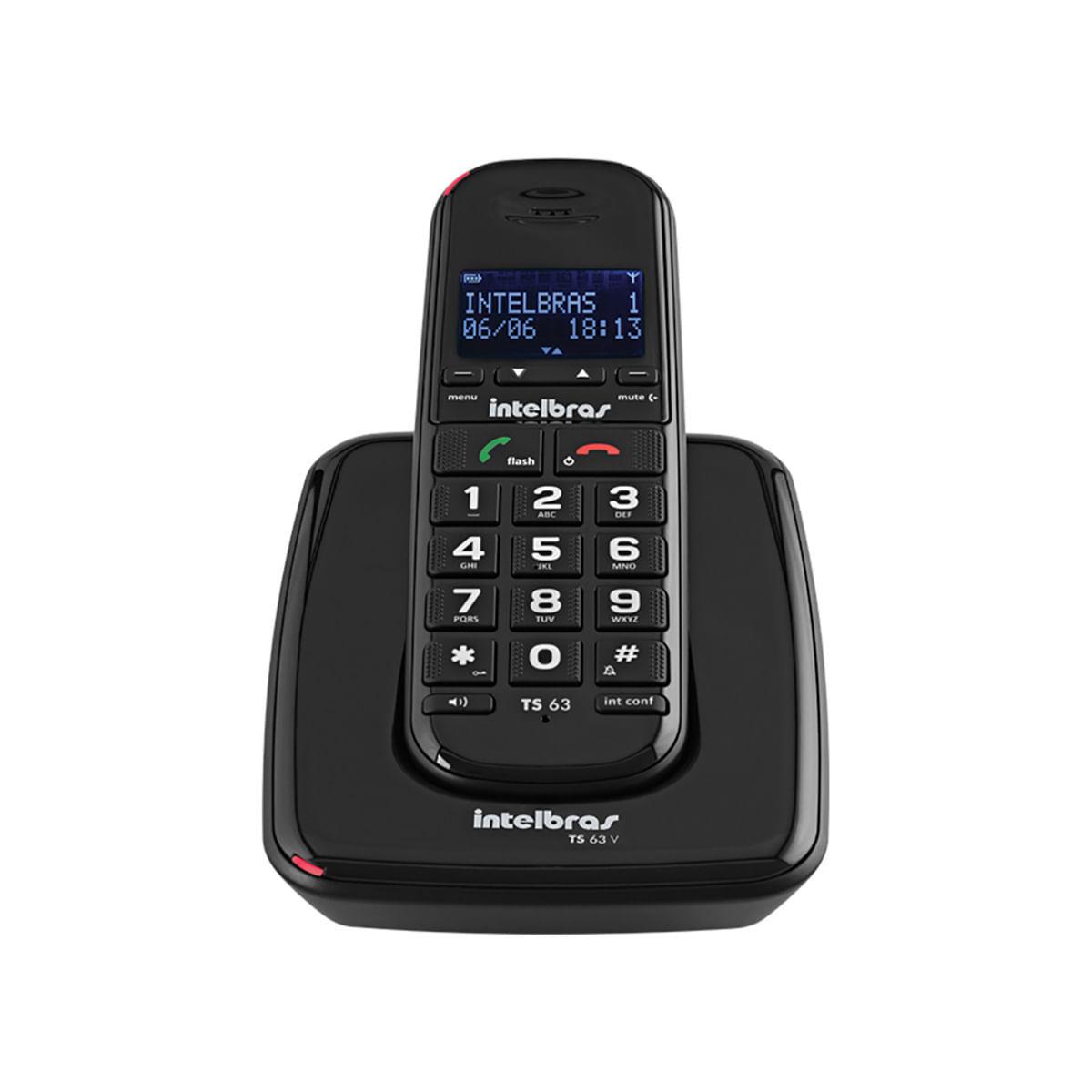 Telefone sem Fio  Intelbras TS 63 V Preto