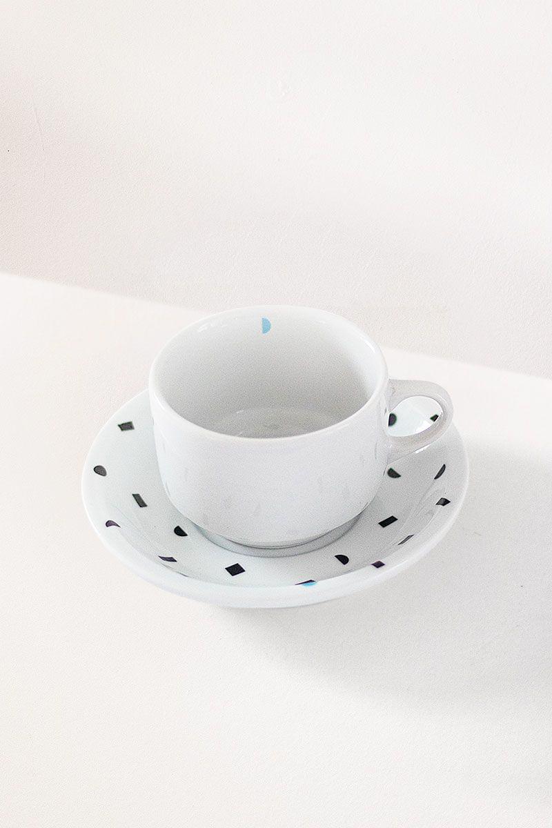 Xícara de chá porcelana mini geo