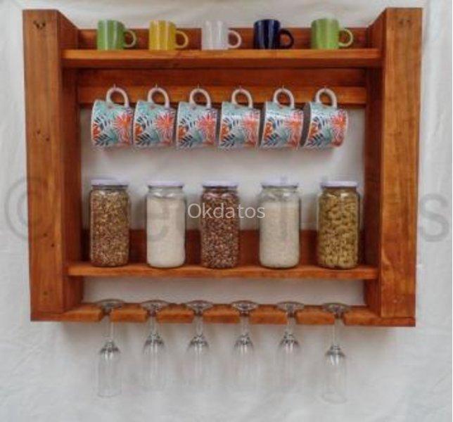Repisas para cocina con madera de pallets los ngeles for Ganchos para repisas