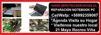 Reparación notebook pc Acer Hp Lenovo Asus Dell