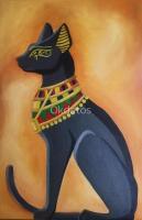 Cuadros Decoración Pintura Oleo Tela Gato Egipcio