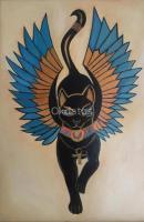 Cuadros Decoración Oleo Tela Gato Egipcio I