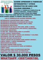 FORMULAS PARA FABRICAR DETERGENTES, LAVALOZAS, ETC