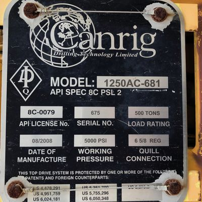 Canrig 1250 Top drive with Rail and VFD