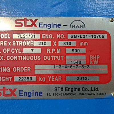 STX MAN 7L21/31 HFO Generator sets