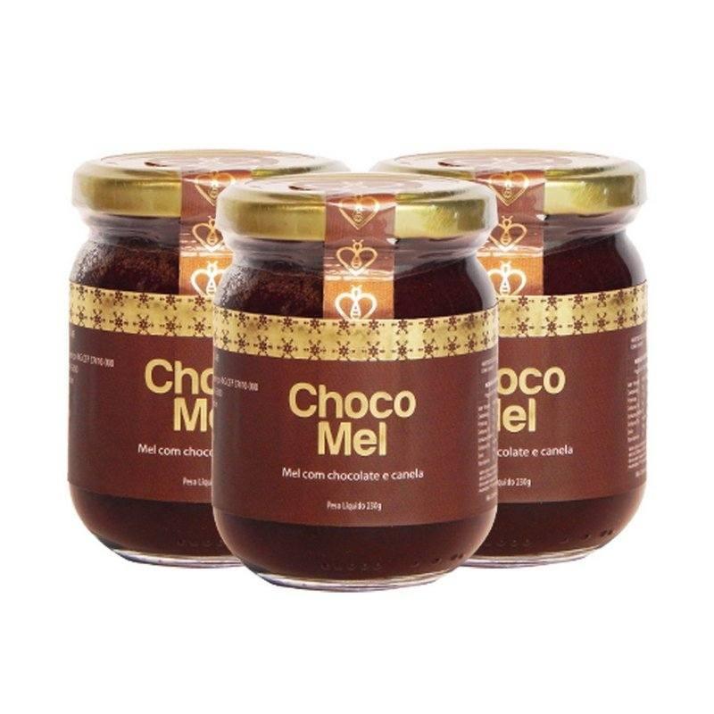 03 UN Chocomel 230g Mel Puro, Cacau 100% e Canela da Índia - HerboMel Natural Sobremesa Saudável