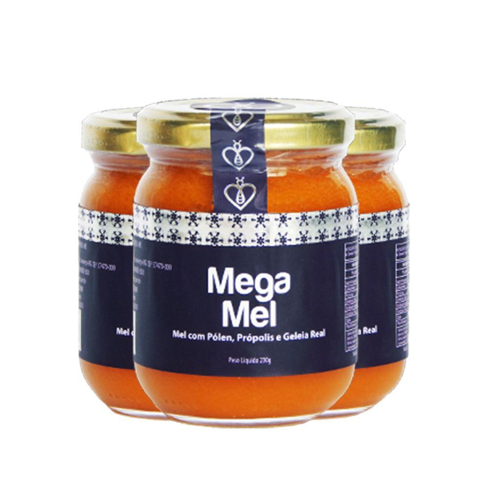 """03 UN Mega Mel 230g Mel Puro com Pólen, Extrato de Própolis Verde """"Extra Green"""" (Tipo exportação) e Geleia Real HerboMel Natural"""