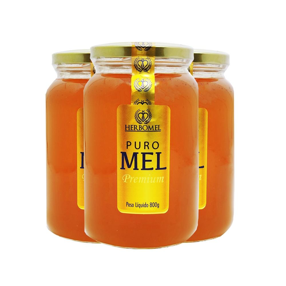 "03 UN Mel Puro Premium 800g Florada Silvestre ""Blend"" Fino de mesa HerboMel Natural"