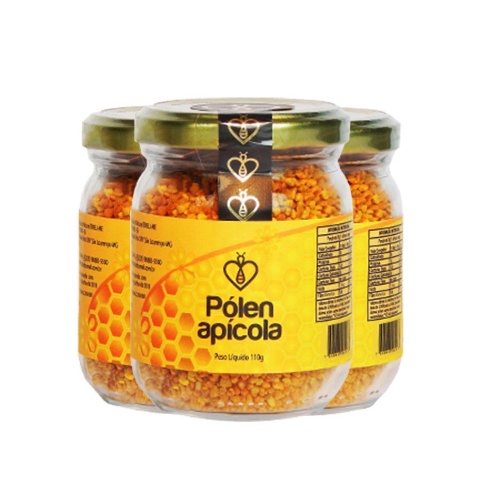 03 Un Pólen Apícola Desidratado em grãos 110g HerboMel Natural