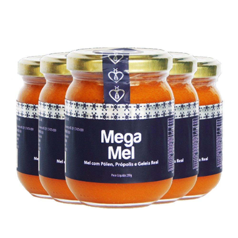 """05 UN Mega Mel 230g Mel Puro com Pólen, Extrato de Própolis Verde """"Extra Green"""" (Tipo exportação) e Geleia Real HerboMel Natural"""