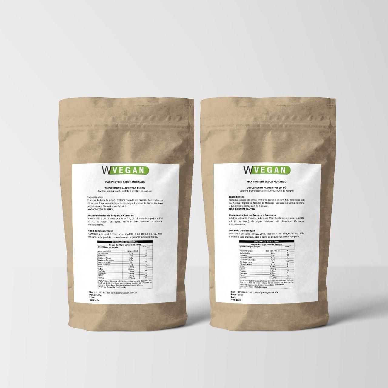 A Rice Protein 1kg 1 Kilo Quilo WVegan - Proteina de Arroz - MORANGO