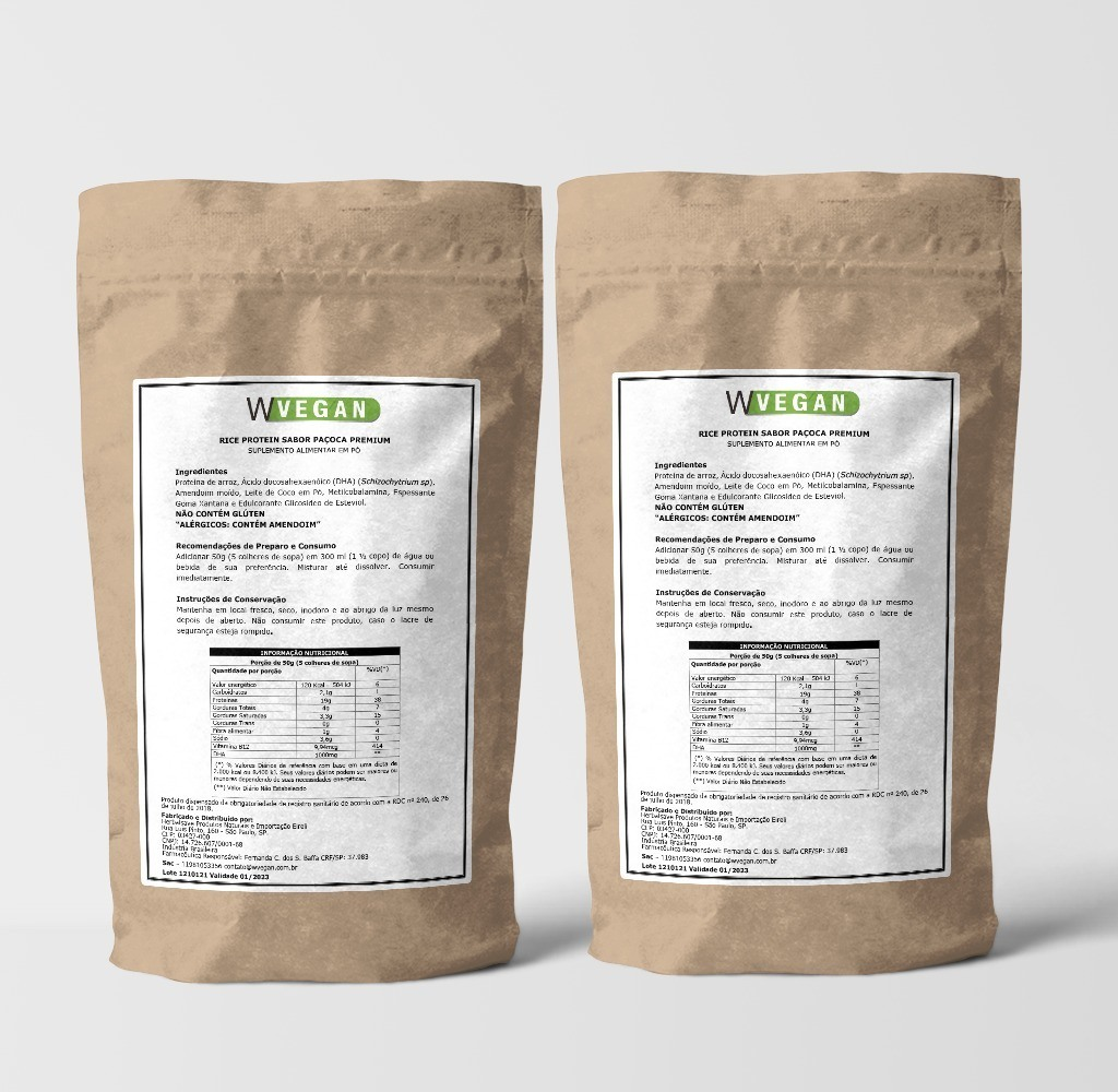 A Rice Protein 1kg PAÇOCA 1 Kilo Quilo WVegan Proteina de Arroz Pacoca