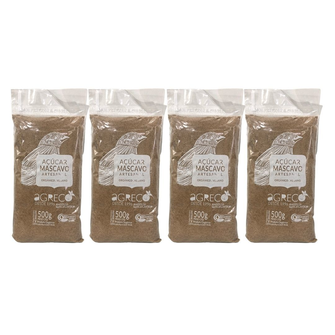 Açúcar Mascavo Orgânico Agreco 500g Kit com 4