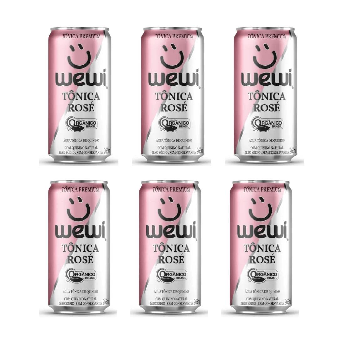 Agua Tonica Orgânica Rose S/ Conservantes Lata 269ml Wewi Kit com 06