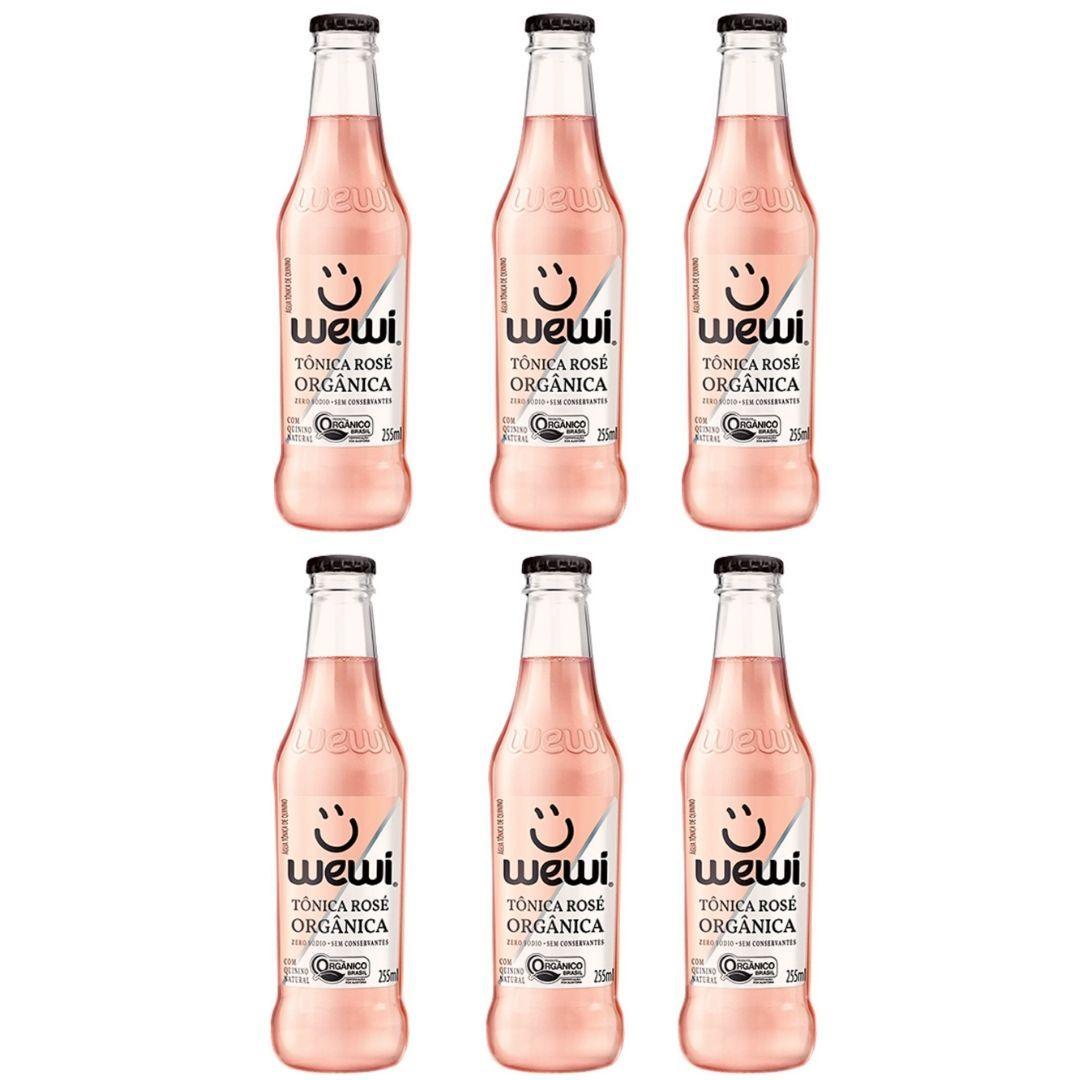 Água Tônica Orgânica Rosé Wewi 100% Natural 255 ml KIT com 6
