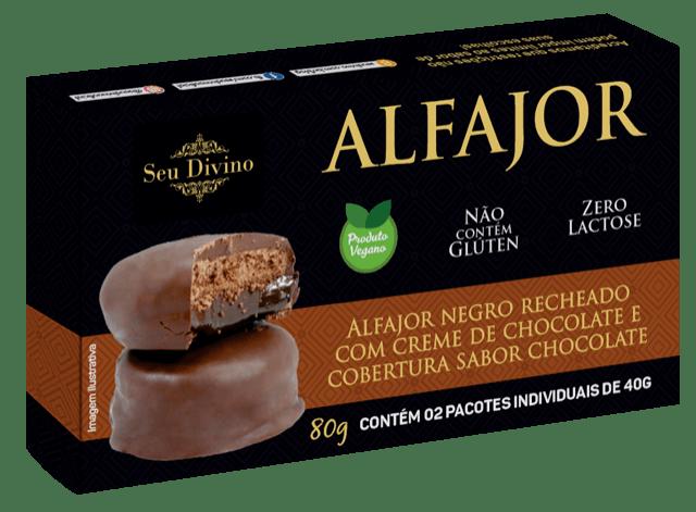 Alfajor negro com recheio de chocolate Seu Divino 80g - 2 unidades