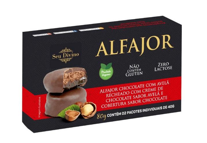 Alfajor vegano chocolate com avelã e recheio de chocolate Seu Divino 80g