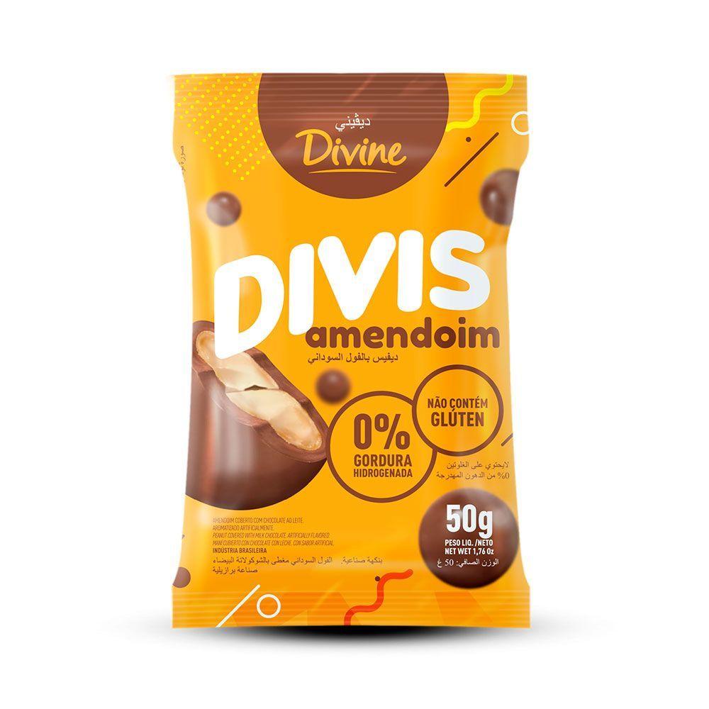 Amendoim coberto com chocolate divis Divine 50g