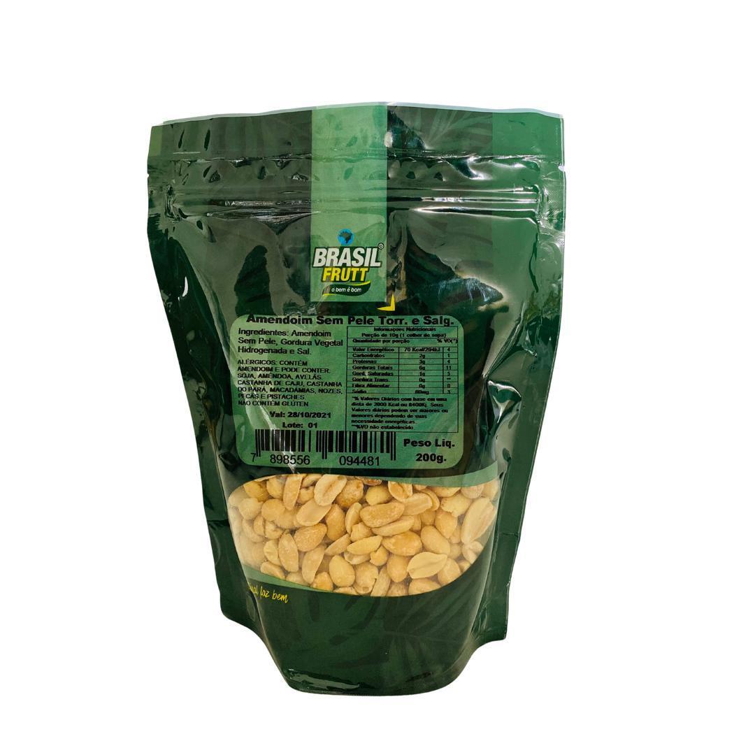 Amendoim sem pele torrado e salgado Brasil Frutt 200g