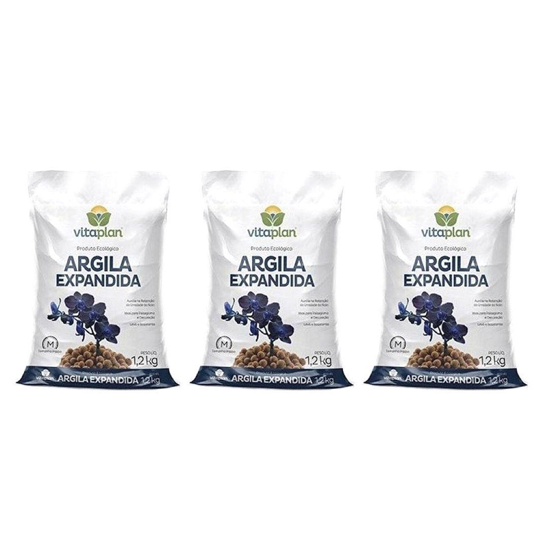 Argila Expandida Media Vitaplan 1,2kg Kit com 3
