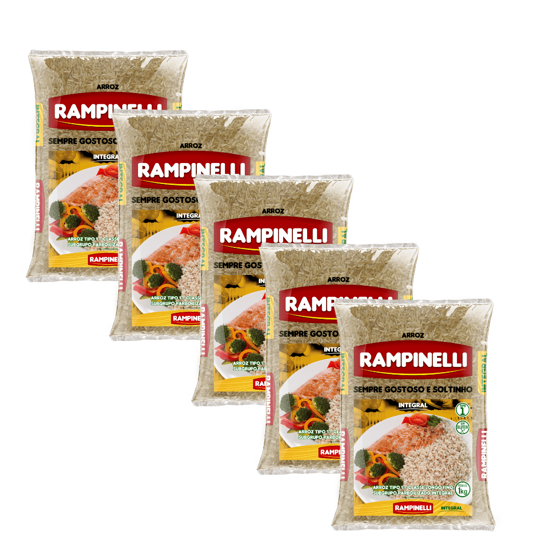 Arroz Parboilizado Integral Rampinelli - 1kg - Kit com 5