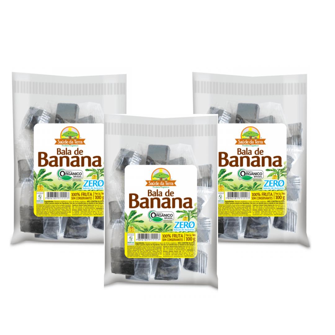 Bala de Banana Orgânica Zero Saúde da Terra 100g Kit com 3
