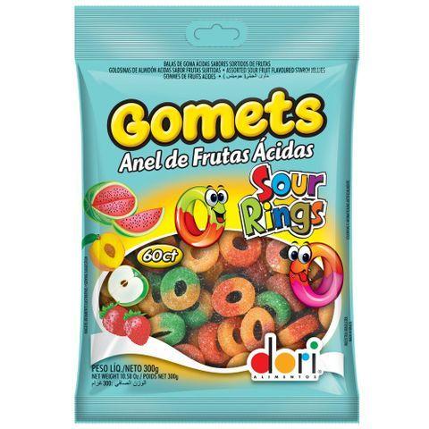 Bala de goma anel de frutas ácidas Gomets Dori 190g