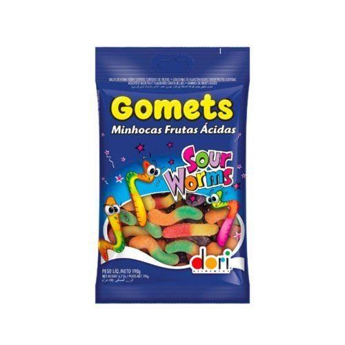Bala de goma frutas minhocas ácidas Gomets Dori 190g
