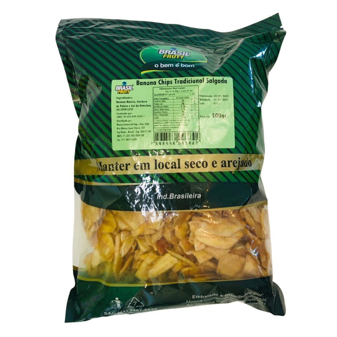 Banana chips tradicional salgada Brasil Frutt 500g