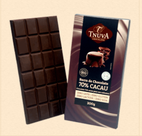 Barra de chocolate 70% uso culinário Tnuva 200g