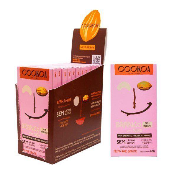Display c/ 12 barras de Chocolate Branco com Nibs S/ Açúcar de 80g - Cookoa