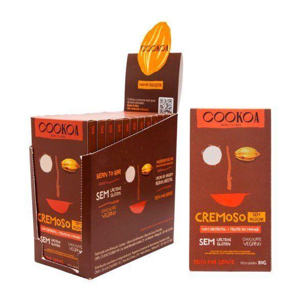 Display 12 barras de Chocolate Cremoso S/ Açúcar de 80g - Cookoa
