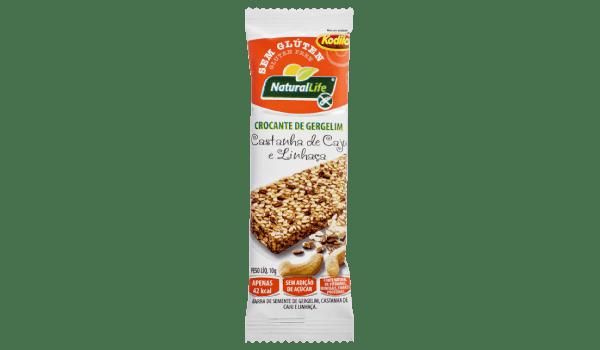 Barrinha de cereal crocante gergelim castanha de caju e linhaça Natural Life 10g