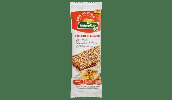 Barrinha de cereal crocante gergelim quinoa e casca de maracujá Natural Life 10g