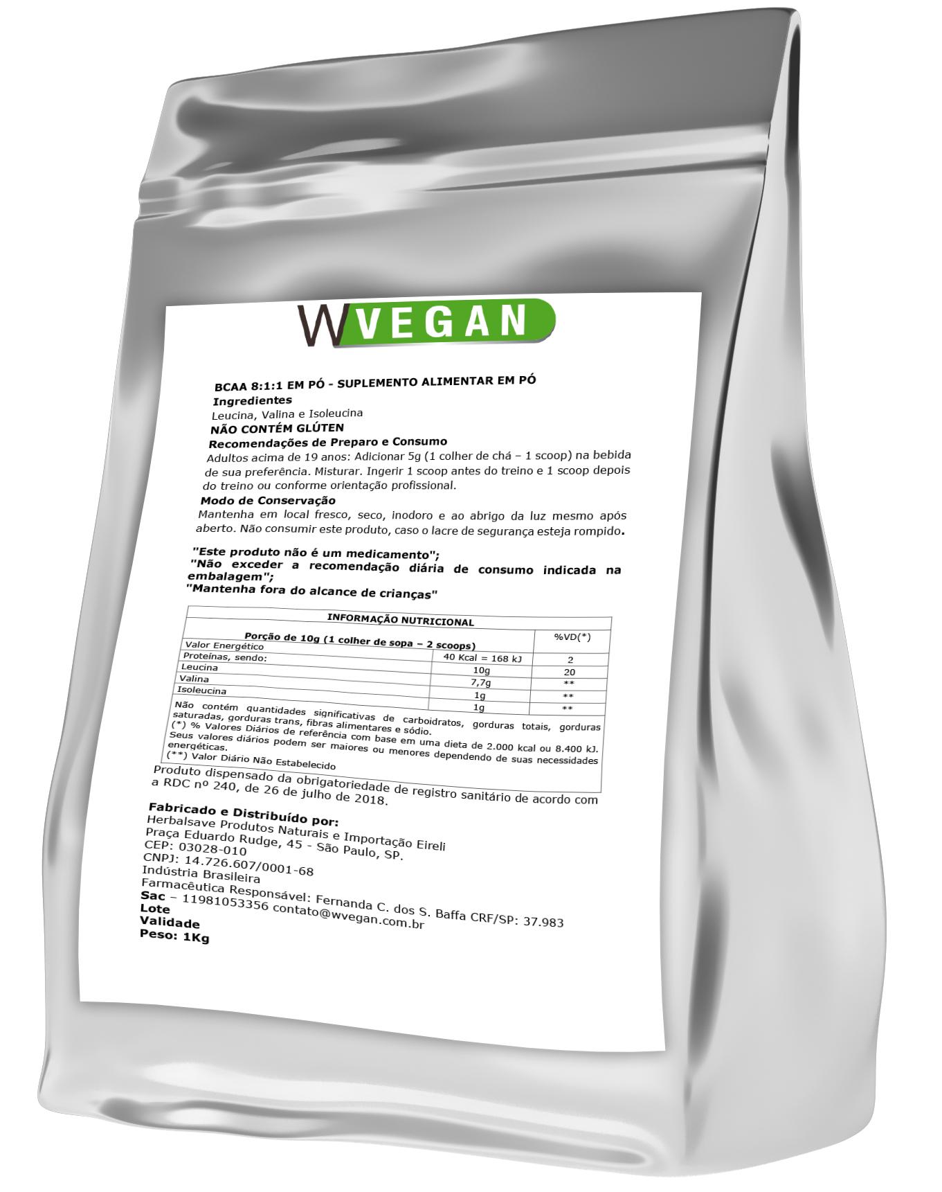 BCAA Vegan 1KG Embalagem Refil WVegan