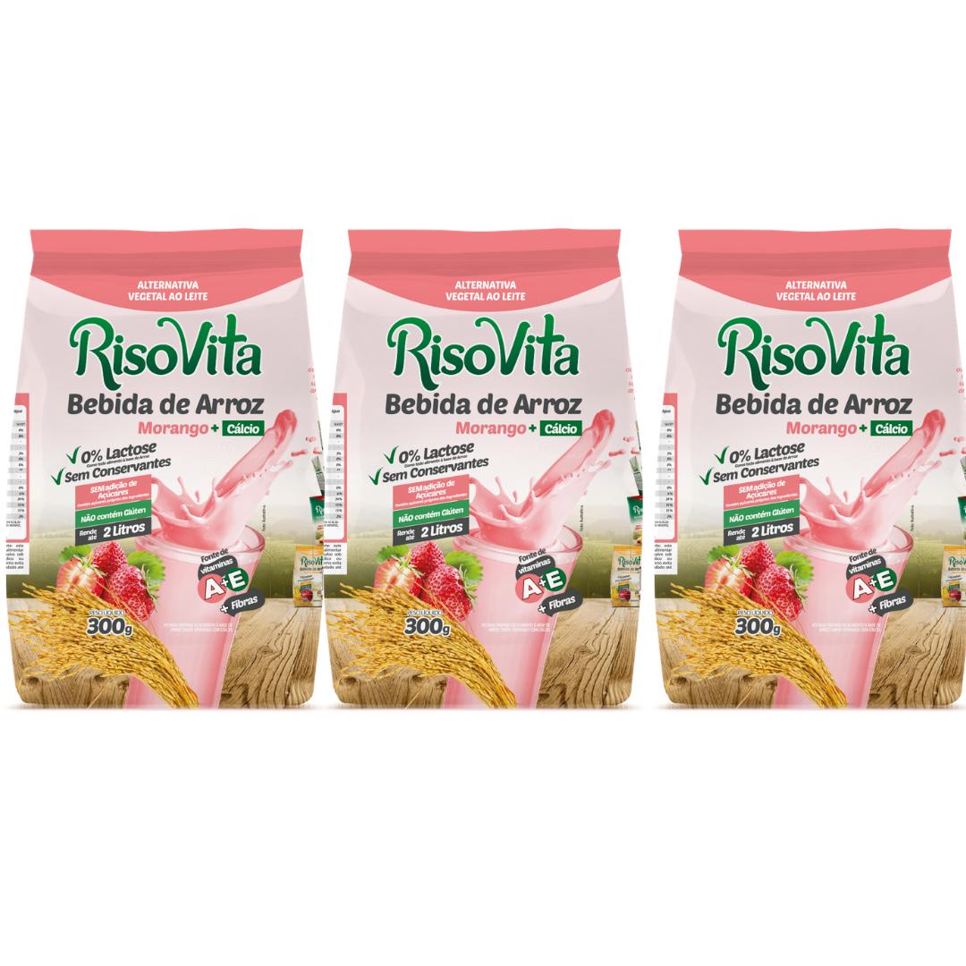 Bebida De Arroz em Pó Morango Risovita 300g Kit com 3