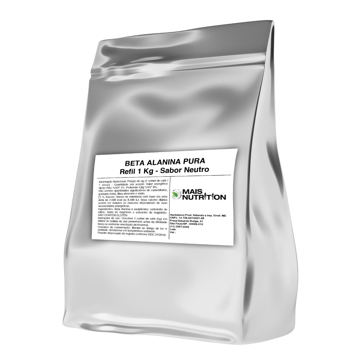 Beta Alanina Vegan 1Kg Embalagem Refil WVegan