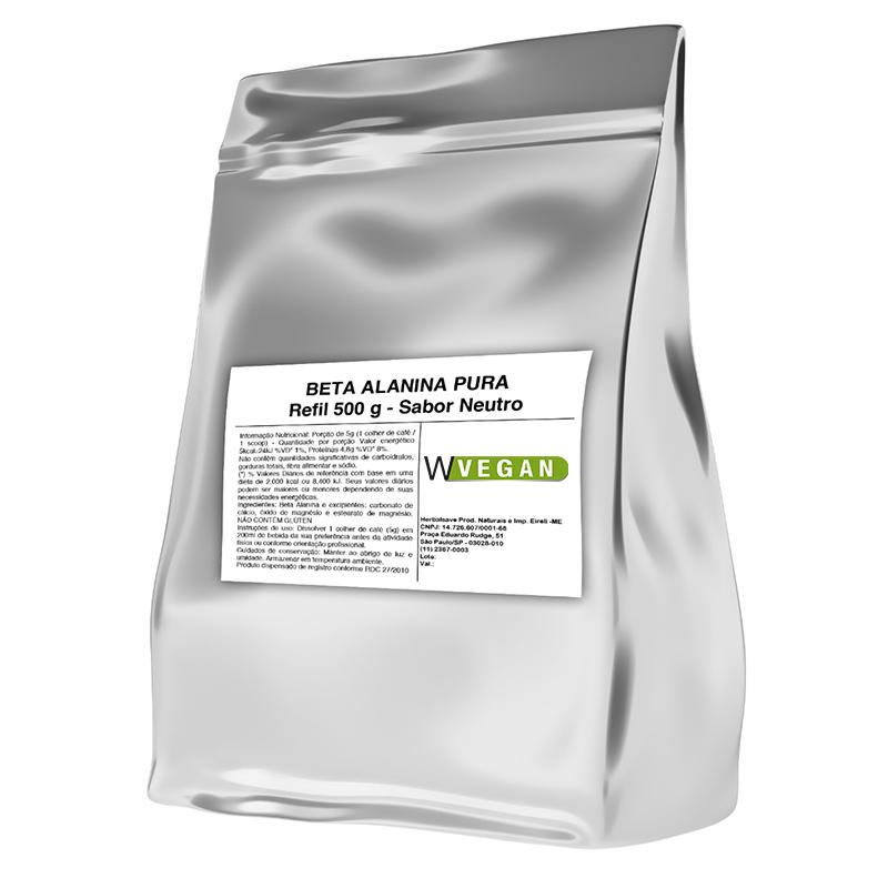 Beta Alanina Vegan 500g Embalagem Refil WVegan