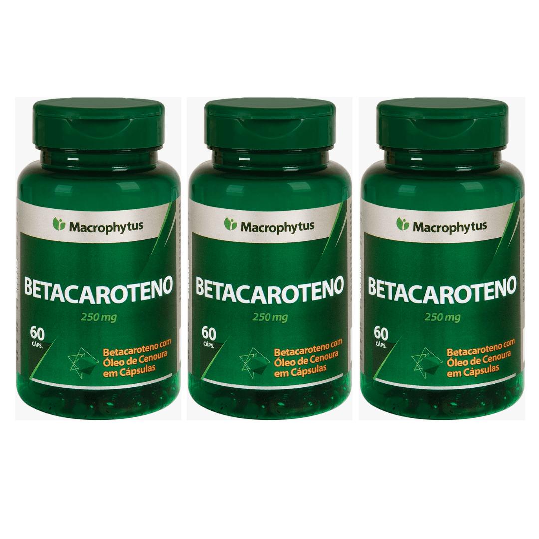 Betacaroteno  Softgel 250mg 60cps Macrophytus Kit com 3