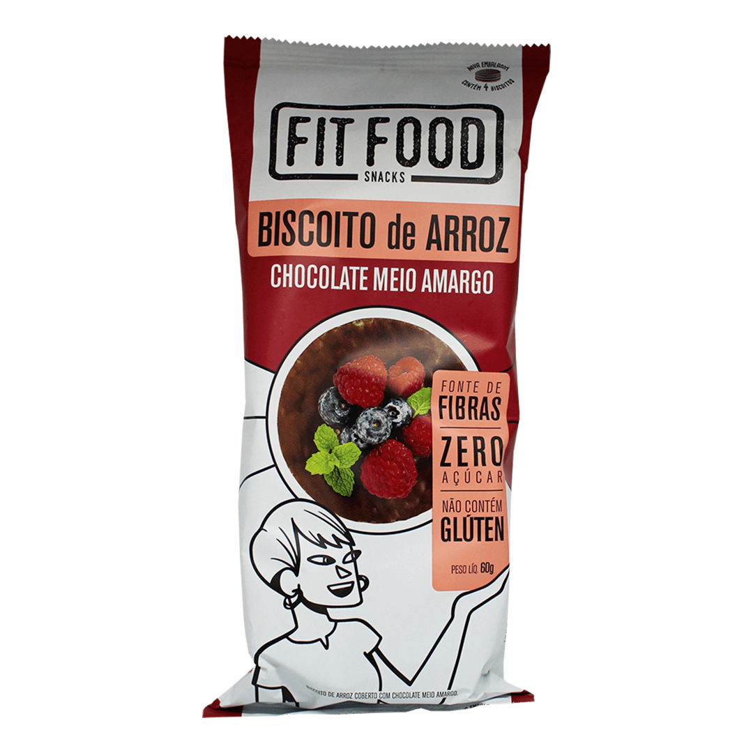 Biscoito de Arroz com Chocolate Meio Amargo 60G Fit Food