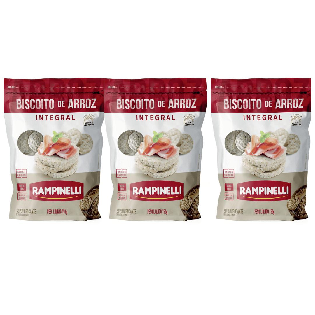 Biscoito de Arroz Integral Rampinelli - 150g - Kit com 3