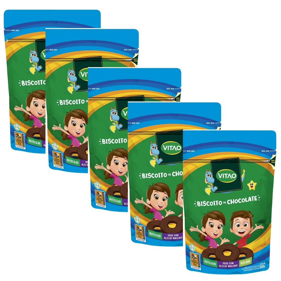 Biscoito de Chocolate Vegano Kids Vitao 80g Kit com 5