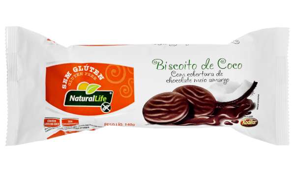 Biscoito de coco coberto com chocolate Natural Life 140g